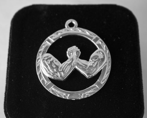 AWC Classic Arm Wrestling Pendant - Silver on black box