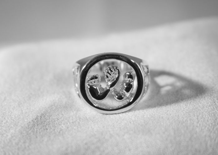 AWC Canada Pride Ring - Silver on white