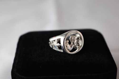 AWC Canada Pride Ring - Silver on black