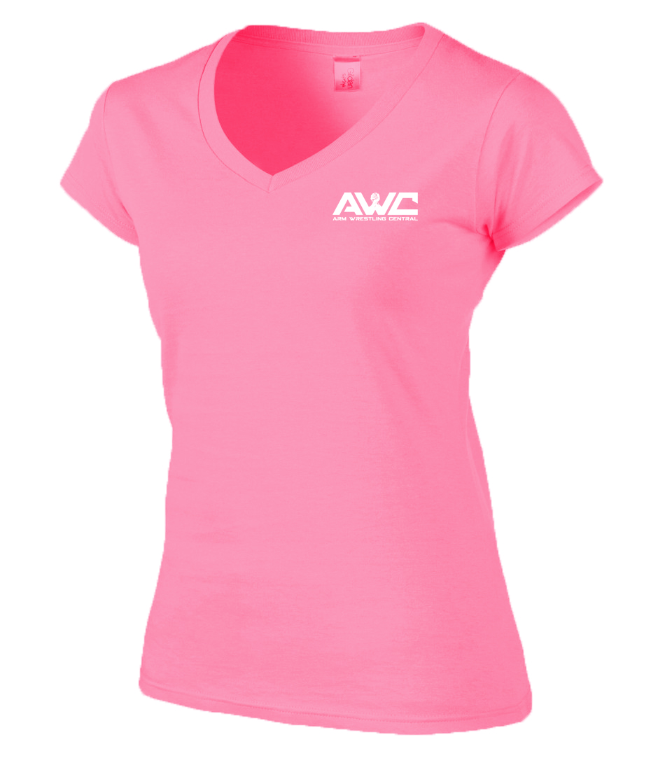 AWC - BABY PINK ladies softstyle T-shirt (small logo-heart placement)