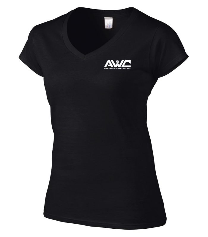AWC - BLACK ladies softstyle T-shirt (small logo-heart placement)