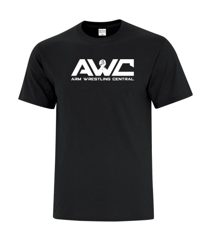 AWC - BLACK mens softstyle T-shirt (large logo center chest placement)