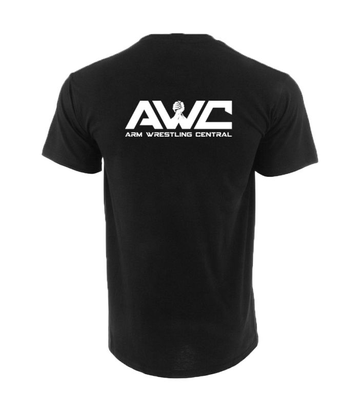 AWC - BLACK mens softstyle T-shirt (large logo upper back center placement)