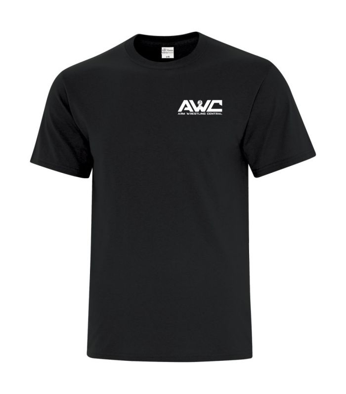 AWC - BLACK mens softstyle T-shirt (small logo front heart placement)