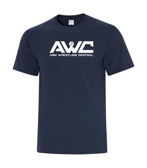 AWC - NAVY BLUE mens softstyle T-shirt (large logo center chest placement)