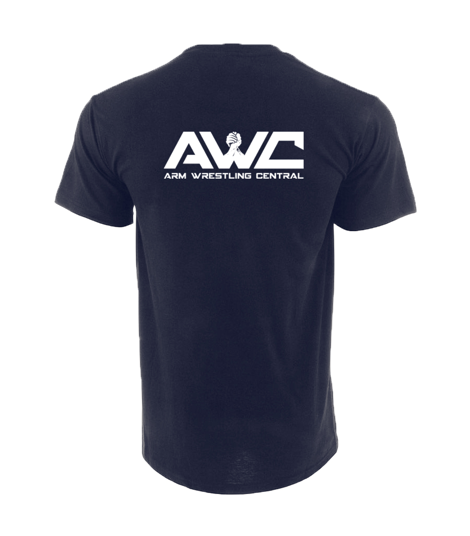 AWC - NAVY BLUE mens softstyle T-shirt (large logo upper back center placement)