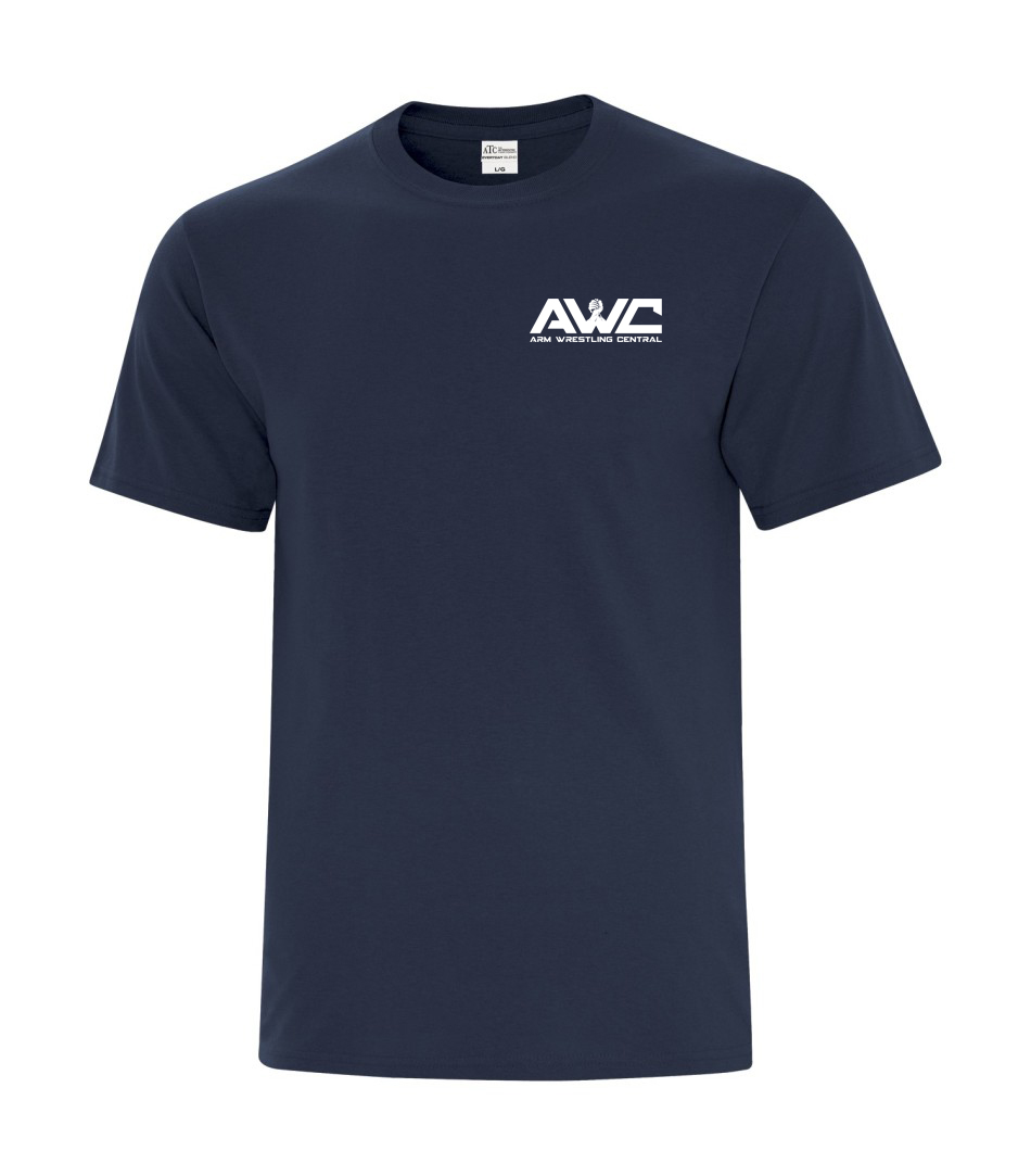 AWC - NAVY BLUE mens softstyle T-shirt (small logo front heart placement)