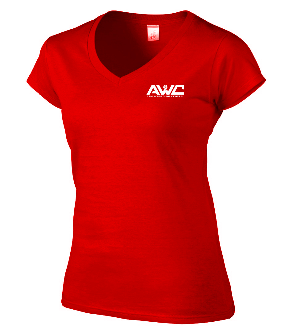 AWC - RED ladies softstyle T-shirt (small logo-heart placement)