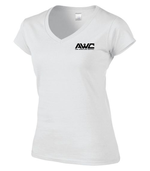 AWC - WHITE ladies softstyle T-shirt (small logo-heart placement)