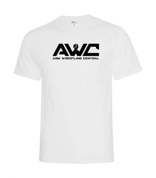 AWC - WHITE mens softstyle T-shirt (large logo center chest placement)
