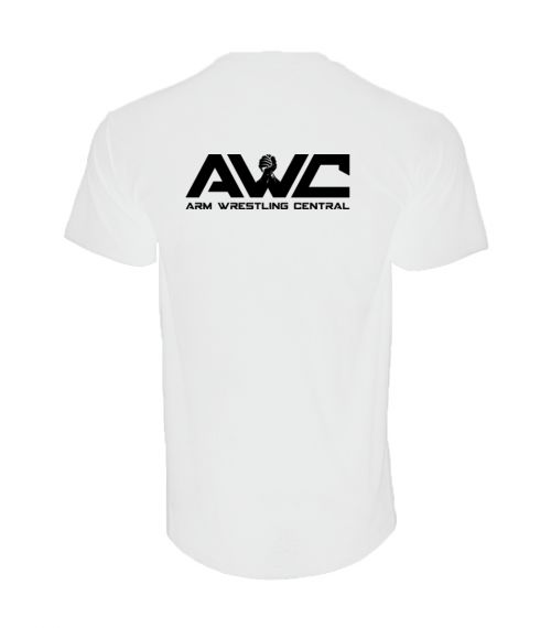 AWC - WHITE mens softstyle T-shirt (large logo upper back center placement)